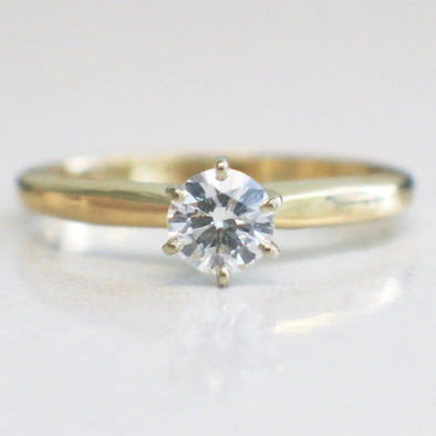 14K Yellow Gold Diamond Solitaire Round Vintage Engagement Ring