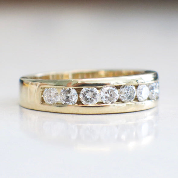 Channel Set 1.00 Carat Vintage Diamond Gold Band