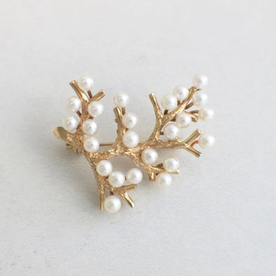 14K Yellow Gold Vintage Golden Pearl Branch Pin