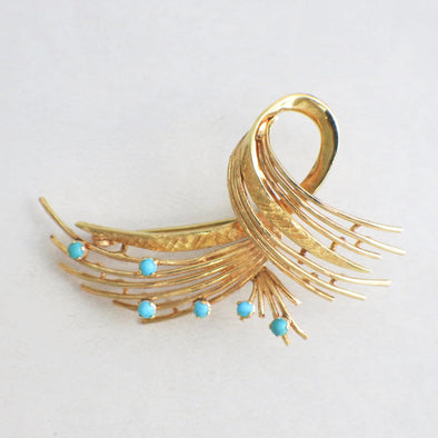 18k Yellow Gold Brooch Pin With Round Cabochon Turquoise Gems