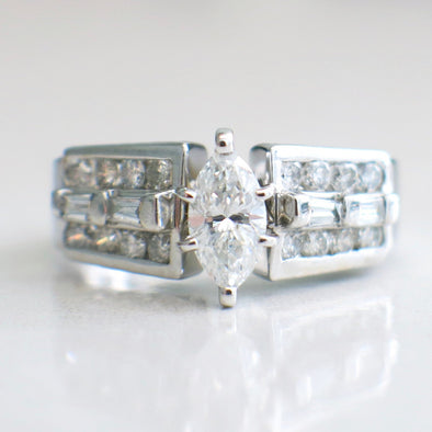 14K White Gold Marquise Diamond Thick Diamond Accented Engagement Ring