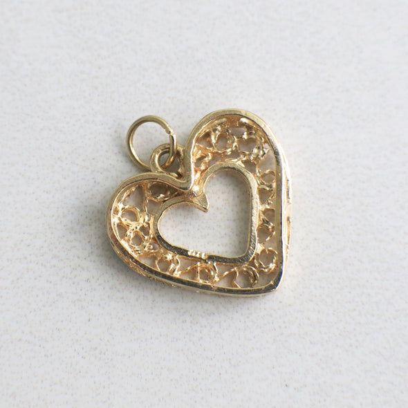 Filigree Vintage Scroll 14K Yellow Gold Heart Pendant