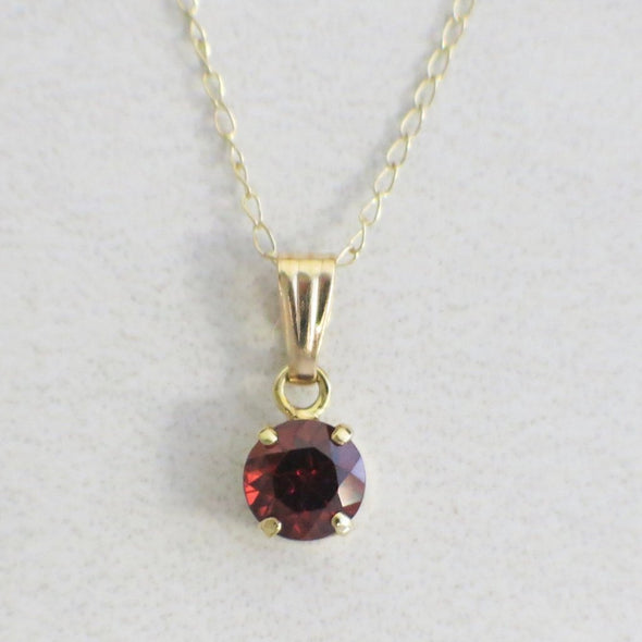 14K Yellow Gold Necklace With Bright Red Garnet Pendant