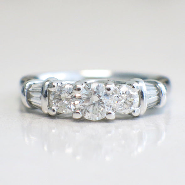 Vintage 14K White Gold Diamond Engagement Ring Wedding Band
