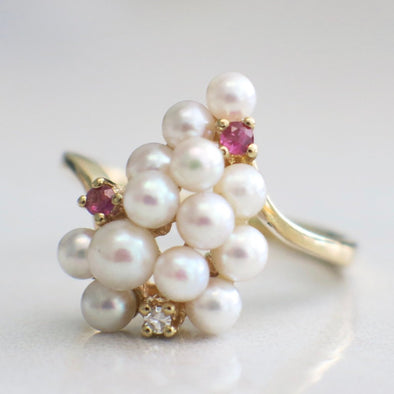 Round White Pearl, Diamond, and Red Ruby Grape Shape Statement Ring