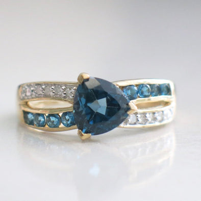 10K Yellow Gold London Blue Topaz and Diamond Ring