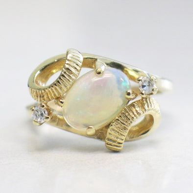 Oval White Opal and Diamond Vintage 14K Yellow Gold Ring