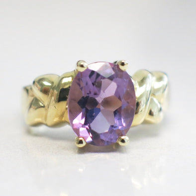 14K Yellow Gold Oval Purple Amethyst Ring