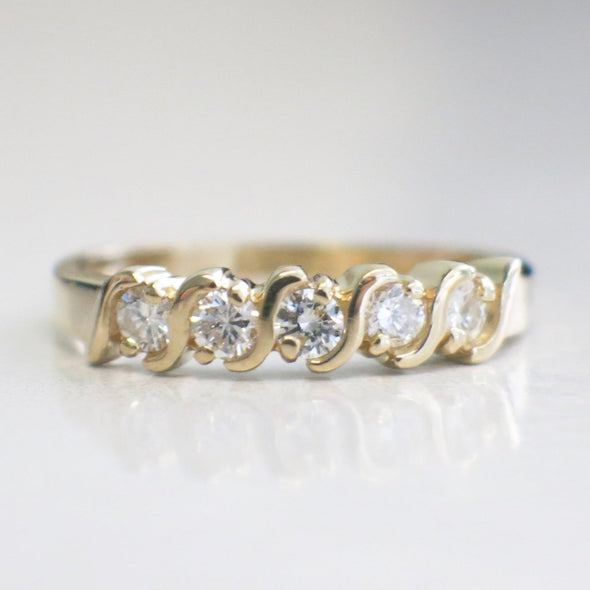 14K Vintage Five Stone Diamond S Shaped Anniversary Wedding Band Stackable Ring