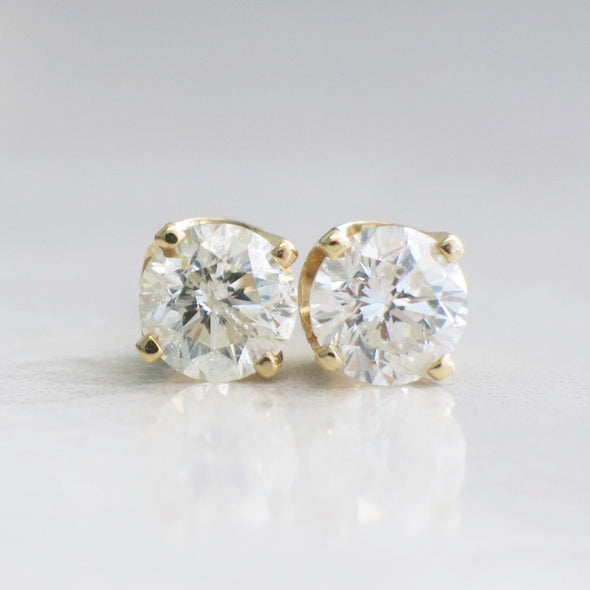 1.40 CTW Diamond Stud 14K Yellow Gold Threaded Screw Back Earrings