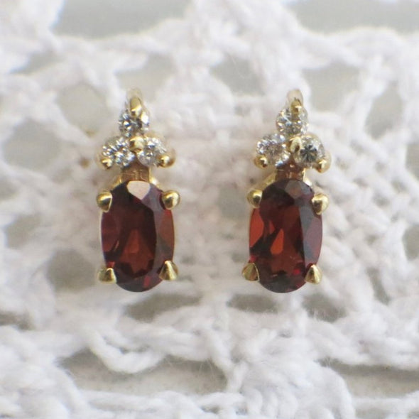 Vintage Diamond and Garnet Gold Stud Earrings