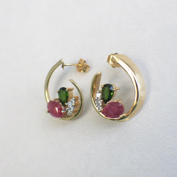 14K Yellow Gold Ruby Garnet and Diamond Dangle Drop Earrings