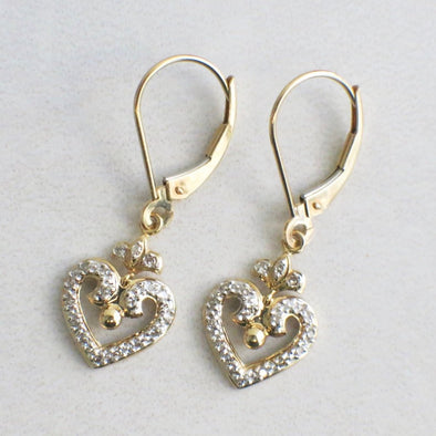 14K Yellow Gold Diamond Heart Dangle Earrings