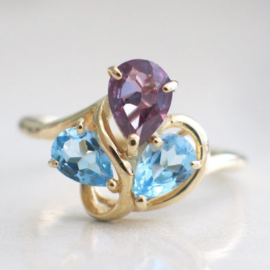 Amethyst and Topaz Pear Shape 14k Yellow Gold Abstract Ring