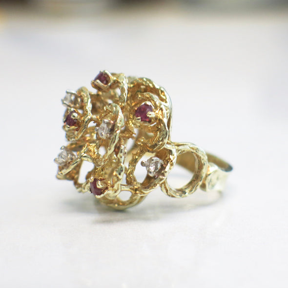 Vintage 14K Yellow Gold Diamond and Red Ruby Floral Cluster Handmade Cocktail Ring