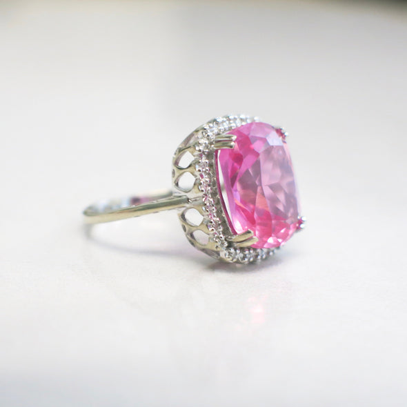 10K White Gold Synthetic Pink Sapphire with Diamond Halo Ring or Alternative Engagement Ring