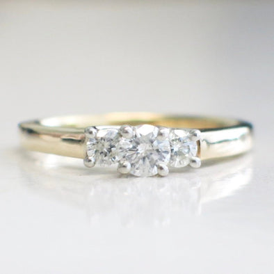 14K Yellow Gold and Platinum Three Stone Diamond Engagement Ring