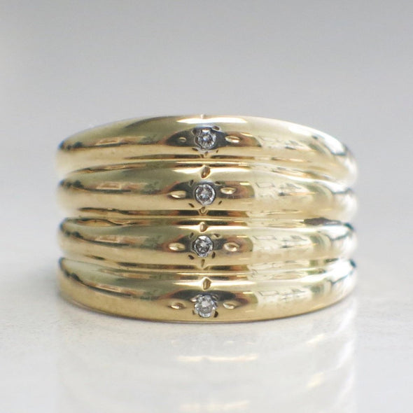 Wide 14K Yellow Gold Diamond Band Ring