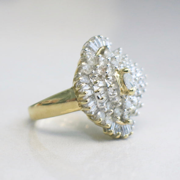 Diamond Marquise Round and Baguette Cluster 14K Yellow Gold Ring