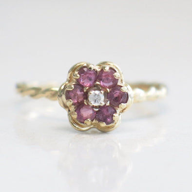 Red Ruby and Diamond Center Braided Floral Flower Ring