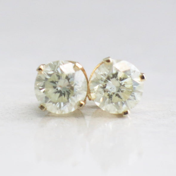 Threaded 14K Yellow Gold .78 CTW Diamond Stud Earrings