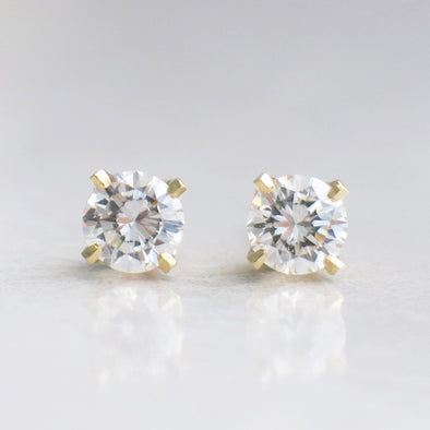14K Yellow Gold Classic Four Prong Diamond Stud Earrings