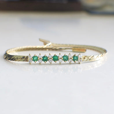 Diamond and Green Emerald Flat Herringbone 14K Yellow Gold Bracelet