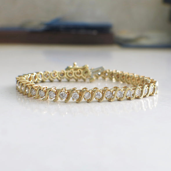 S Link 18K Yellow Gold 2.25 CTW Diamond Tennis Bracelet