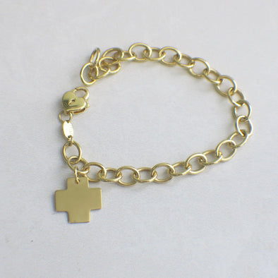 14K Yellow Gold Oval Link Chain Bracelet With Cross Charm and Heart Lock Clasp