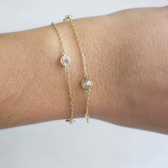 14K Yellow Gold Extra Long CZ Bezel Set Station Bracelet