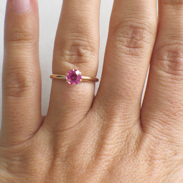 Natural Pink Sapphire Solitaire 14K Rose Gold Vintage Ring