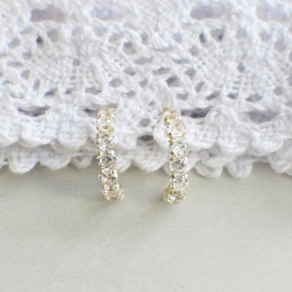 Cubic Zirconia CZ Half Hoop 14k Yellow Gold Earrings
