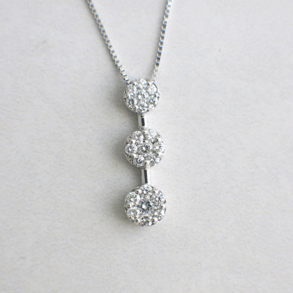14K White Gold Diamond Three Stone Drop Cluster Necklace