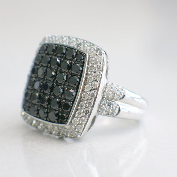 10K White Gold Black and White Diamond Large Cluster Ring