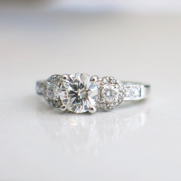 Vintage Inspired 14K Gold Three Stone Halo Side Stones Diamond Engagement Ring