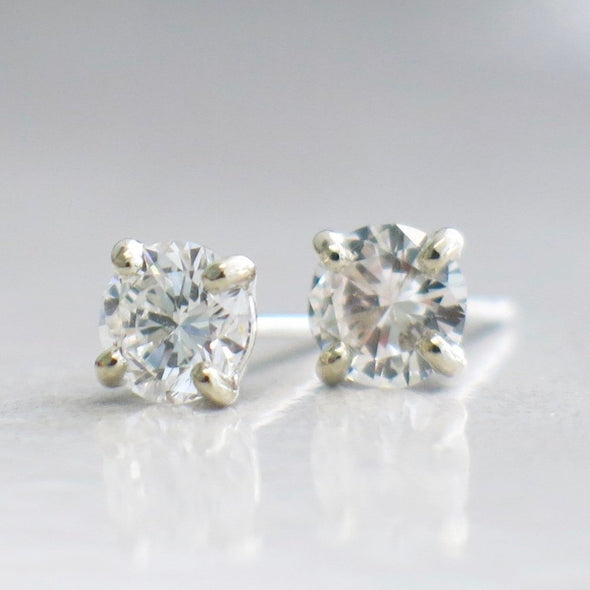 Diamond .80 CTW Stud Earrings 14K White Gold