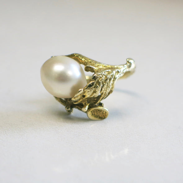 Vintage Handmade 14K Yellow Gold Branch and Baroque Pearl Ring