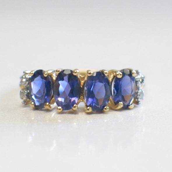 10K Yellow Gold Four Stone Oval Tanzanite and Diamond Ring