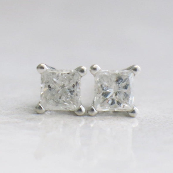Princess Cut .44 CTW Diamond Stud Earrings 14K White Gold
