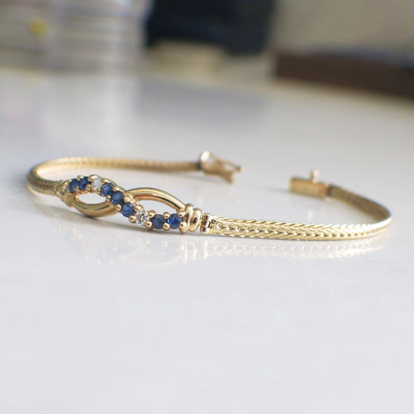 Sapphire and Diamond 14K Yellow Gold Infinity Bracelet