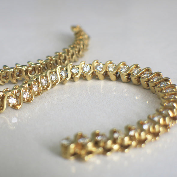 S Link 3.52 CTW Diamond Tennis 14K Yellow Gold Bracelet