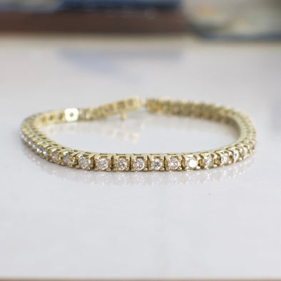 Vintage 14k Yellow Gold Diamond 2.50 CTW Tennis Bracelet