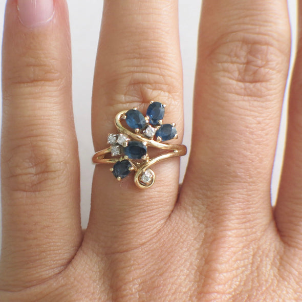 Oval Sapphire and Diamond Vintage Scroll 14K Yellow Gold Vintage Ring