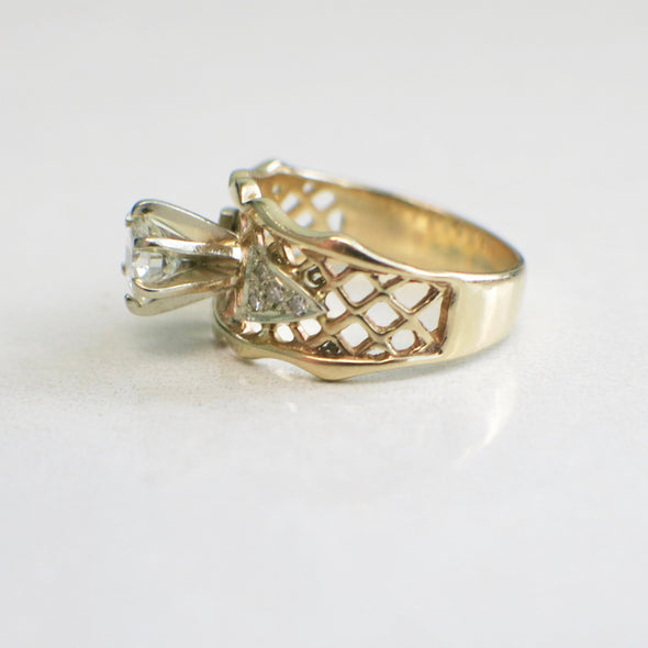 Vintage 14K Yellow Gold Round Brilliant and Single Cut Diamond Wide Lattice Engagement Ring