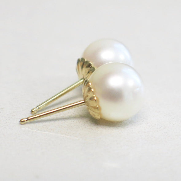 Pearl Studs with Scallop 14K Yellow Gold Push Back Settings