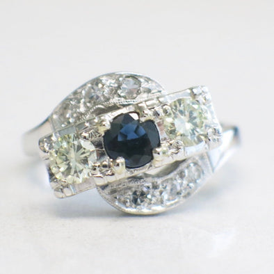 14K White Gold Sapphire and Diamond Art Deco Milgrain Ring Alternative Engagement