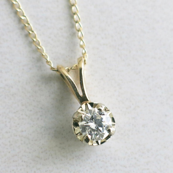 Solitaire Vintage Split Bail Diamond Pendant and 14K Yellow Gold Necklace
