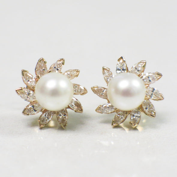 Marquise Diamond and Akoya Pearl Flower Burst Stud Earrings