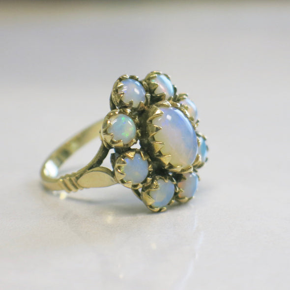 Vintage Opal Floral Flower Ring 14K Yellow Gold