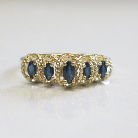Five Stone Sapphire Marquise 14K Yellow Gold Ring